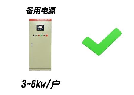 备用电源 3~6kw/户